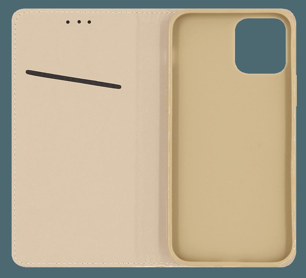 Apple iPhone 12 Pro Max oldalra nyíló flipes bőrtok rombusz mintás arany