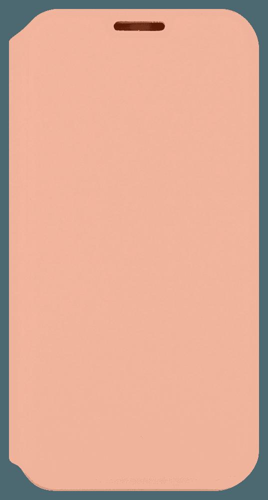 Apple iPhone 12 Pro Max oldalra nyíló flipes bőrtok bankkártya tartó barackszínű