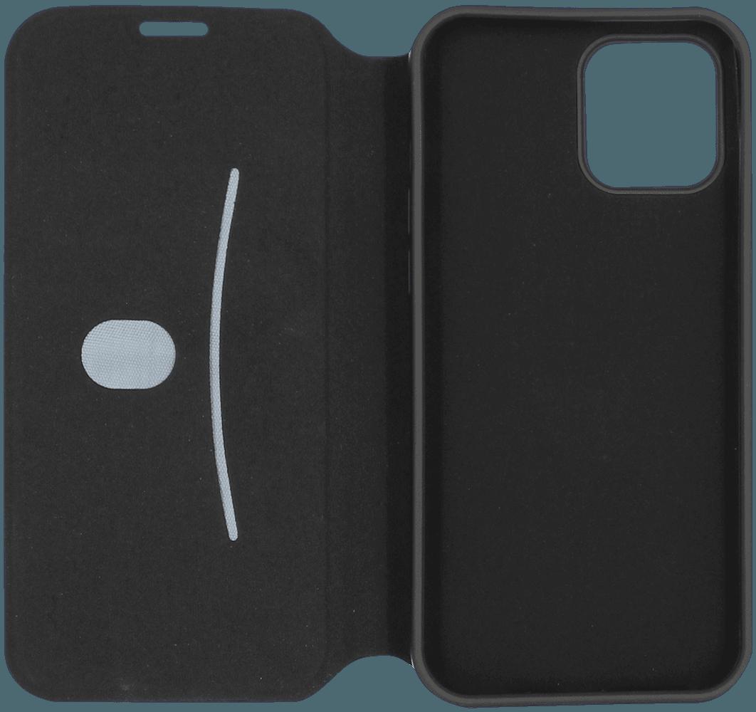 Apple iPhone 12 Pro Max oldalra nyíló flipes bőrtok bankkártya tartó fekete