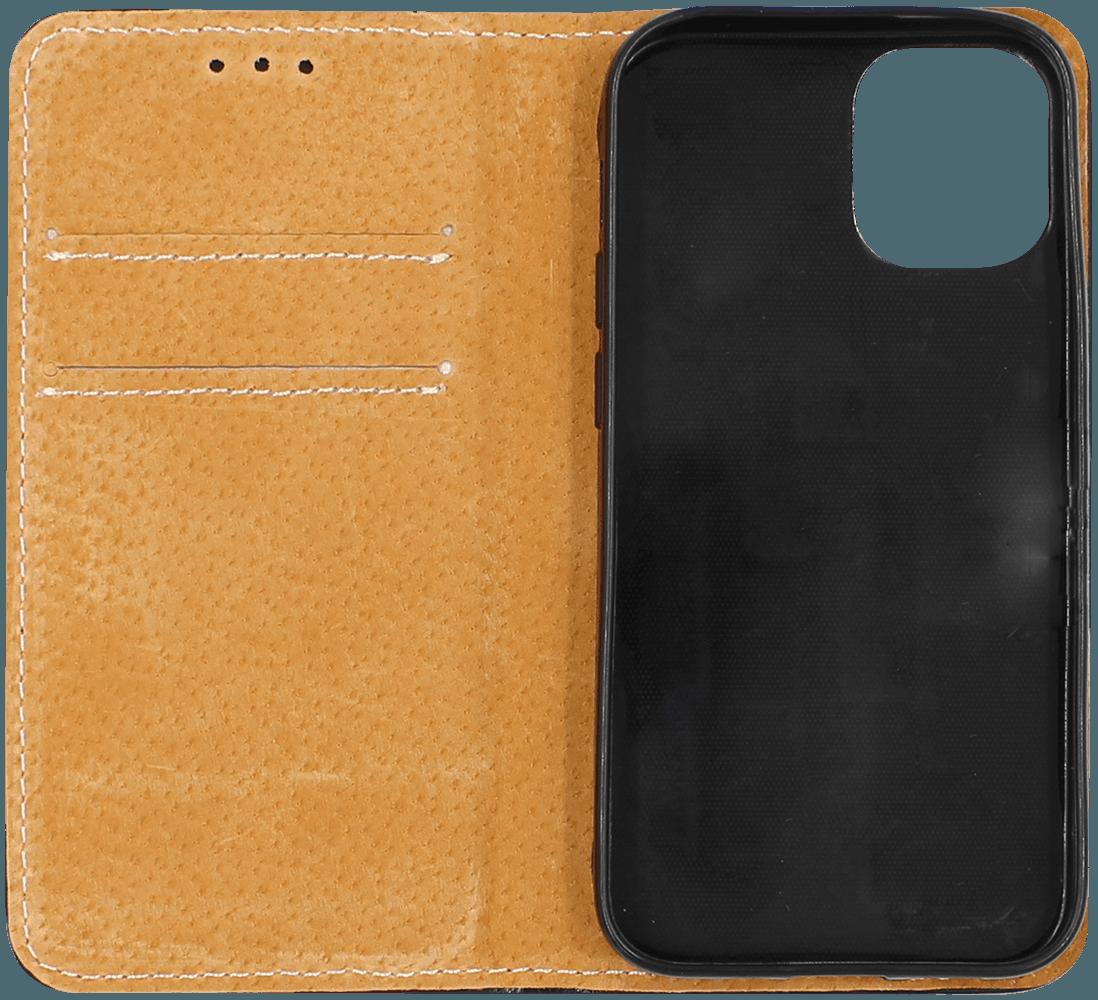 Apple iPhone 12 Mini oldalra nyíló flipes bőrtok valódi bőr fekete