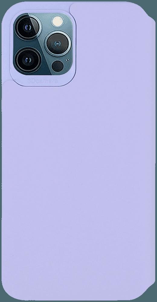 Apple iPhone 12 Pro Max oldalra nyíló flipes bőrtok bankkártya tartó halvány lila
