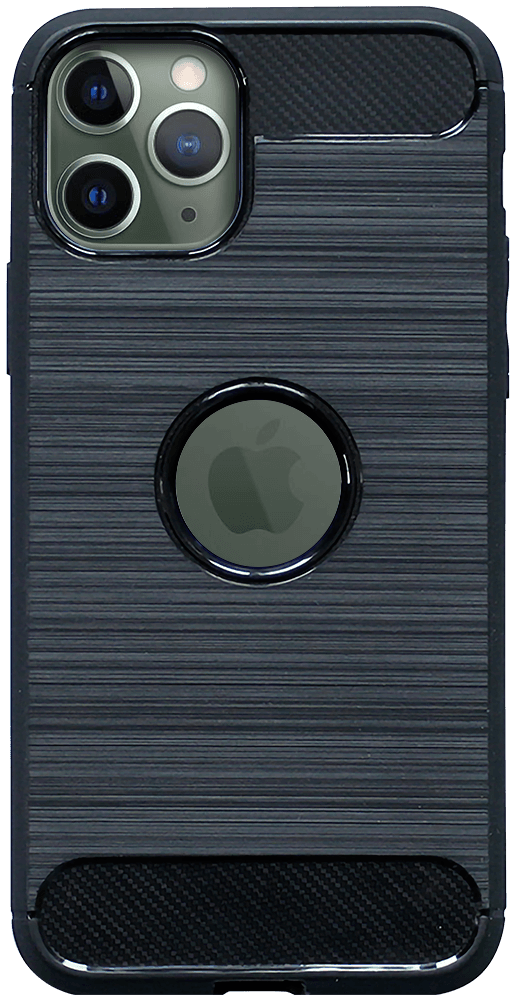 Apple iPhone 11 Pro ütésálló TPU tok szálcsiszolt - karbon minta légpárnás sarok logó kihagyós fekete