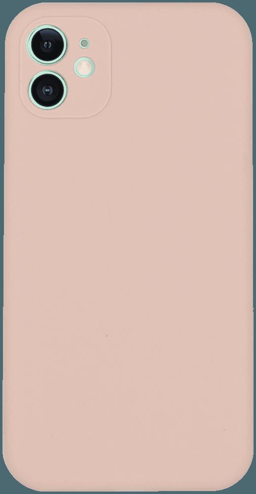 Apple iPhone 11 szilikon tok kameravédővel halvány rózsaszín