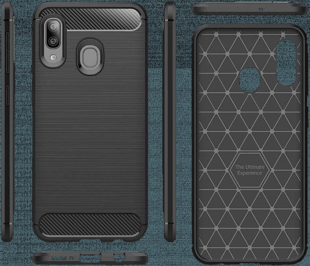 Apple iPhone 11 Pro Max ütésálló TPU tok logó kihagyós szálcsiszolt-karbon minta légpárnás sarok fekete