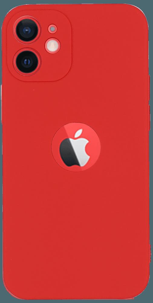 Apple iPhone 12 Mini szilikon logó kihagyós tok matt piros