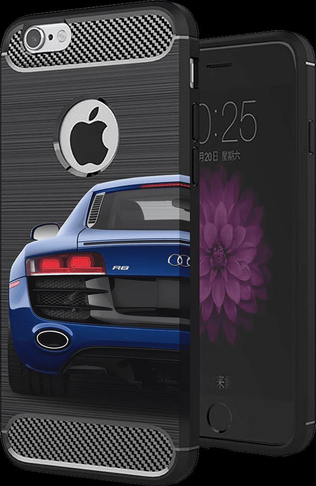 ASUS Zenfone Max Pro (M2) ZB631KL ütésálló TPU tok szálcsiszolt - karbon minta légpárnás sarok sötétkék