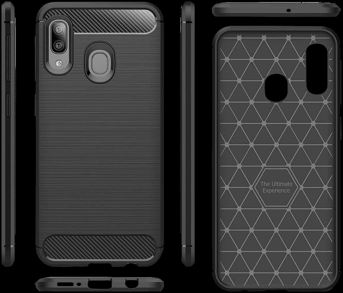ASUS Zenfone Max Pro (M2) ZB631KL ütésálló TPU tok szálcsiszolt - karbon minta légpárnás sarok fekete