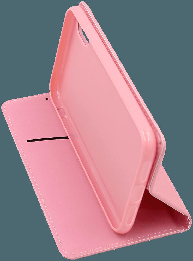 Apple iPhone XR oldalra nyíló flipes bőrtok rombusz mintás rózsaszín