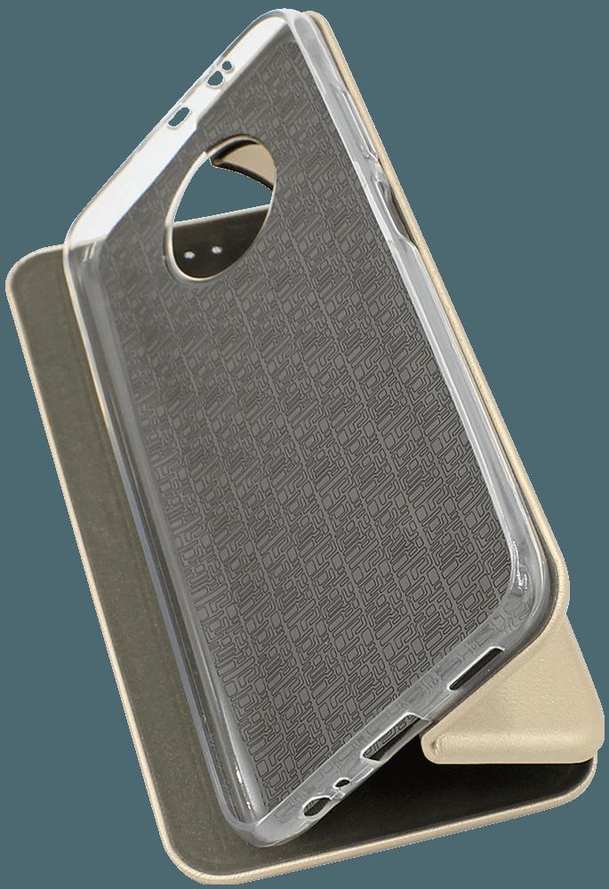 Xiaomi Redmi Note 9T oldalra nyíló flipes bőrtok prémium minőség arany