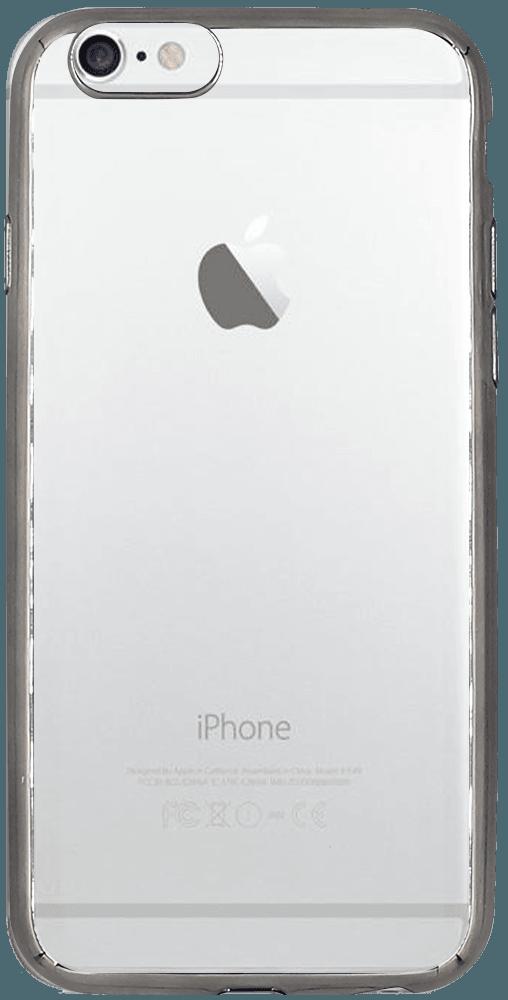 Apple iPhone 6S szilikon tok fémhatású ezüst keret átlátszó