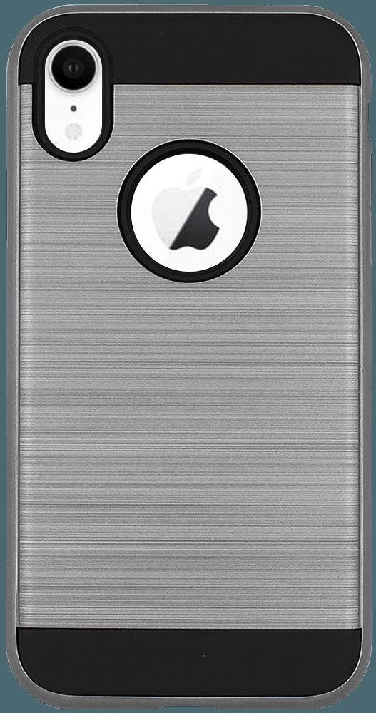 Apple iPhone XR kemény hátlap logó kihagyós szálcsiszolt mintás fekete/ezüst