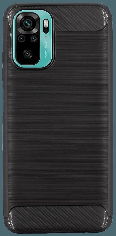 Xiaomi Redmi Note 10s ütésálló tok szálcsiszolt-karbon minta légpárnás sarok fekete