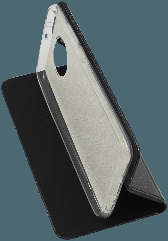 Xiaomi Redmi Note 9T oldalra nyíló flipes bőrtok csillámos fekete