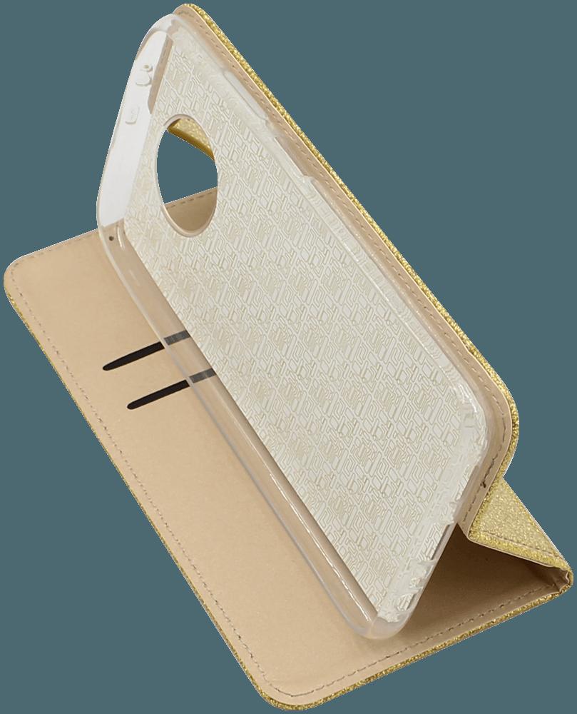 Xiaomi Redmi Note 9T oldalra nyíló flipes bőrtok csillámos arany
