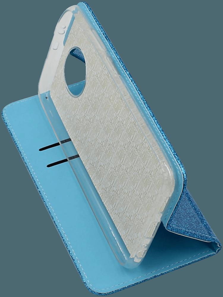 Xiaomi Redmi Note 9T oldalra nyíló flipes bőrtok csillámos kék