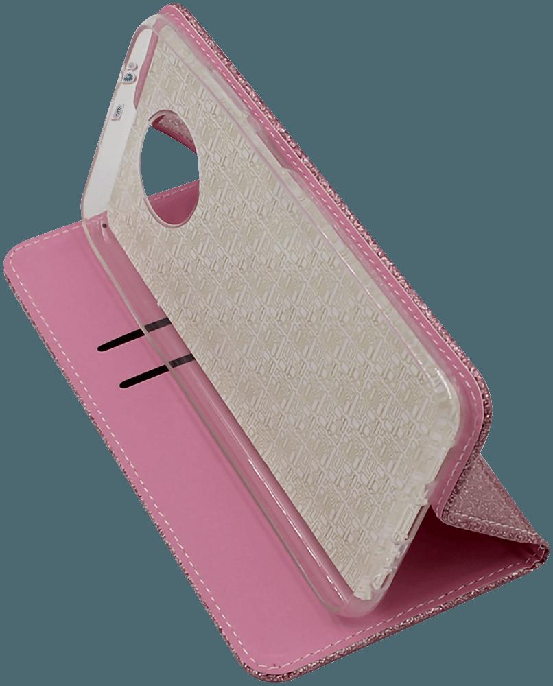 Xiaomi Redmi Note 9T oldalra nyíló flipes bőrtok csillámos rozéarany