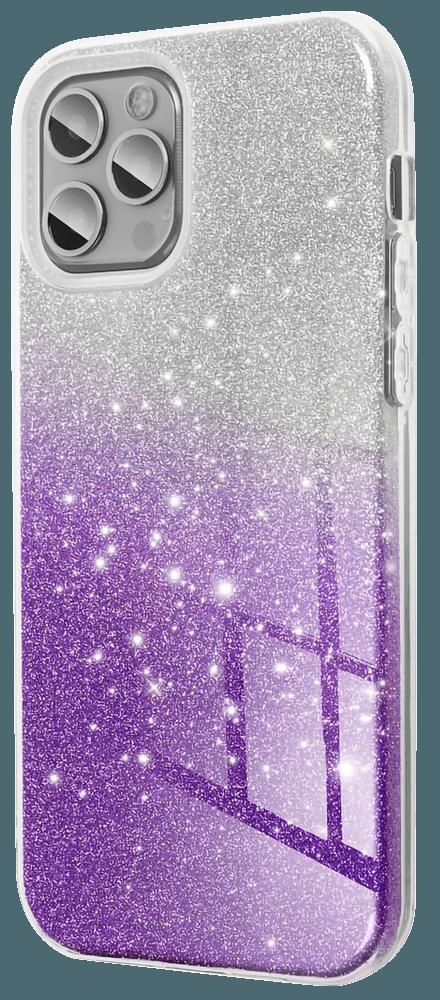 Samsung Galaxy A72 5G (SM-A726B) szilikon tok csillogó hátlap lila/ezüst