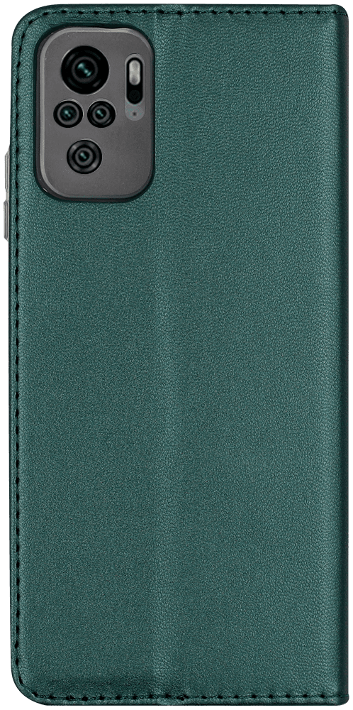 Xiaomi Redmi Note 10s oldalra nyíló flipes bőrtok asztali tartó funkciós sötétzöld