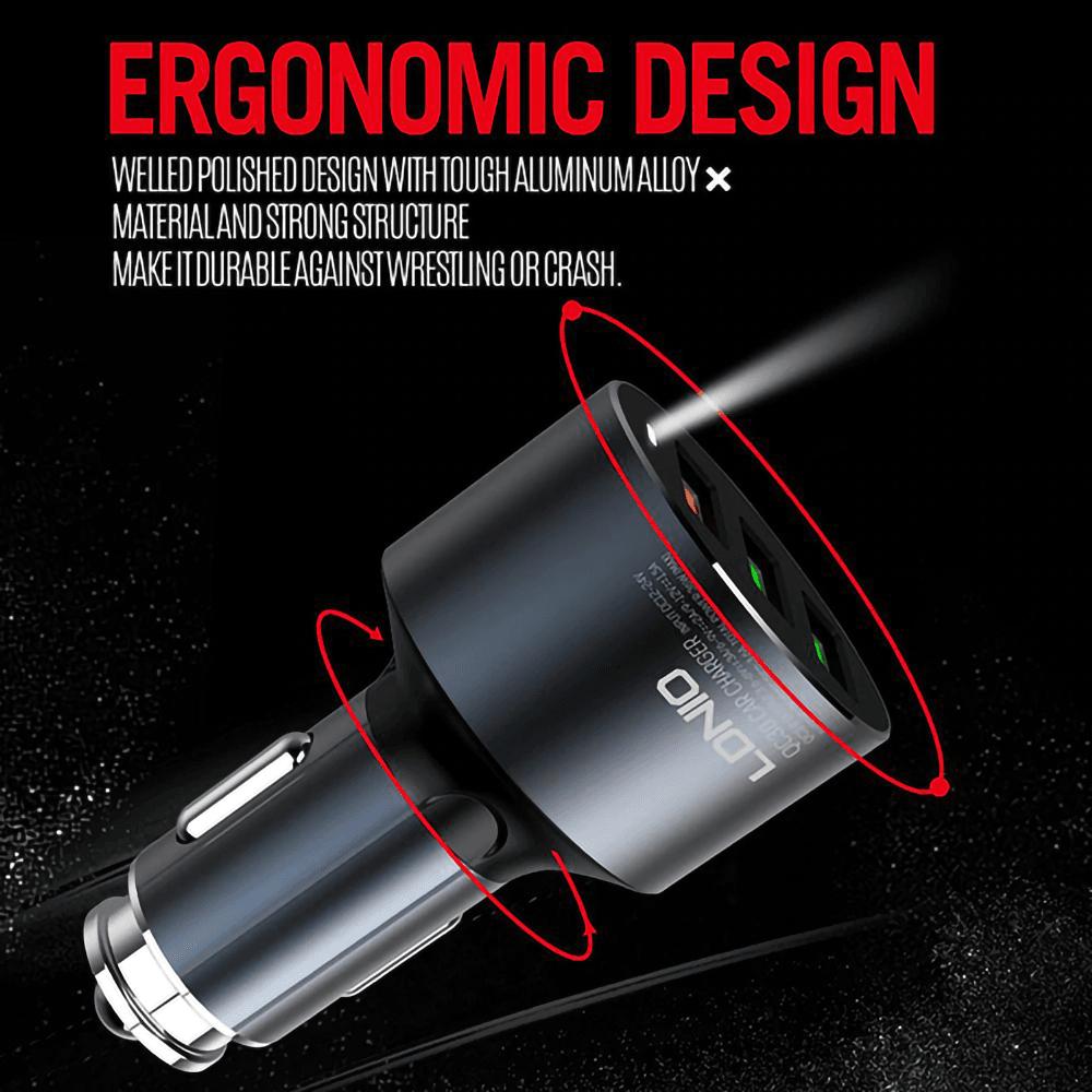 LG K10 2017 (M250N) autós töltő 3 USB porttal LDNIO C703Q fekete
