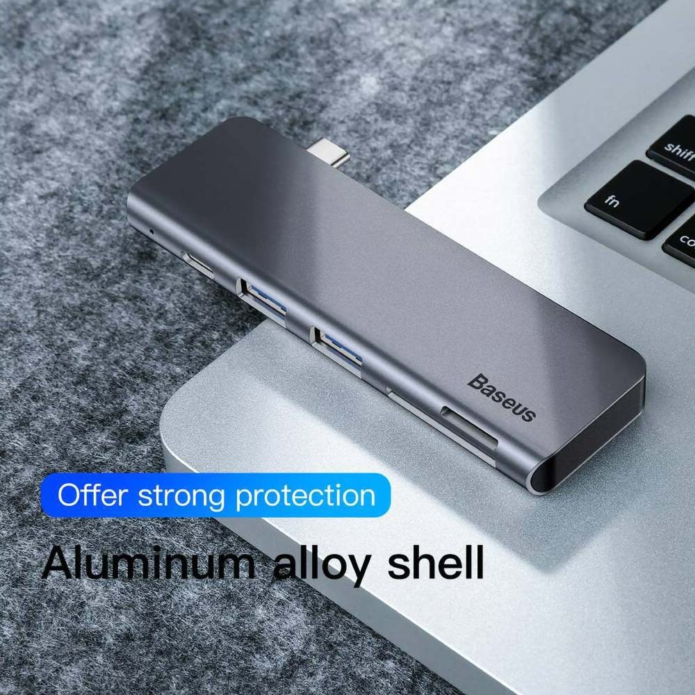Samsung Galaxy A72 5G (SM-A726B) 5 az 1-ben HUB Baseus CAHUB-K0G Harmonica szürke