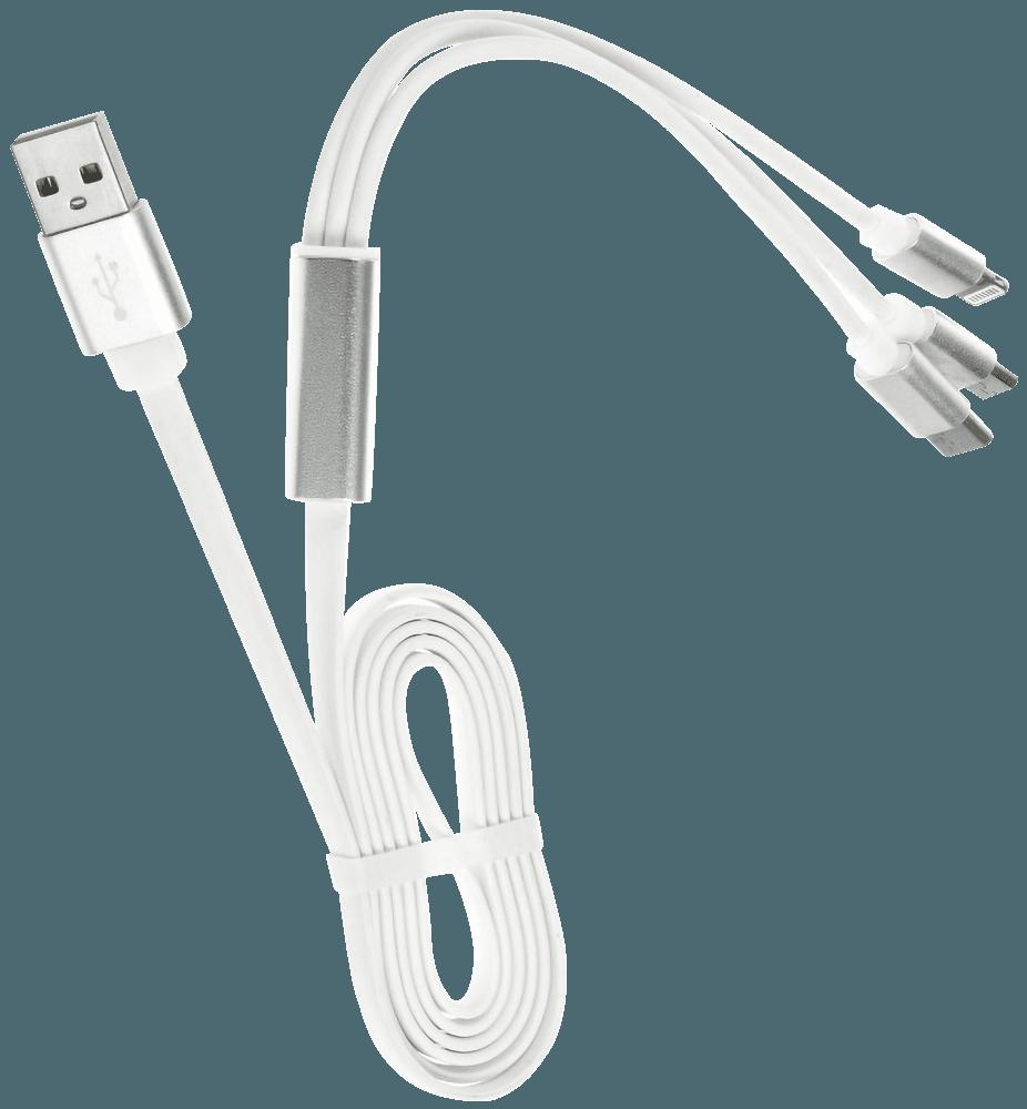 Xiaomi Redmi Note 9T USB kábel 3 az 1-ben fehér