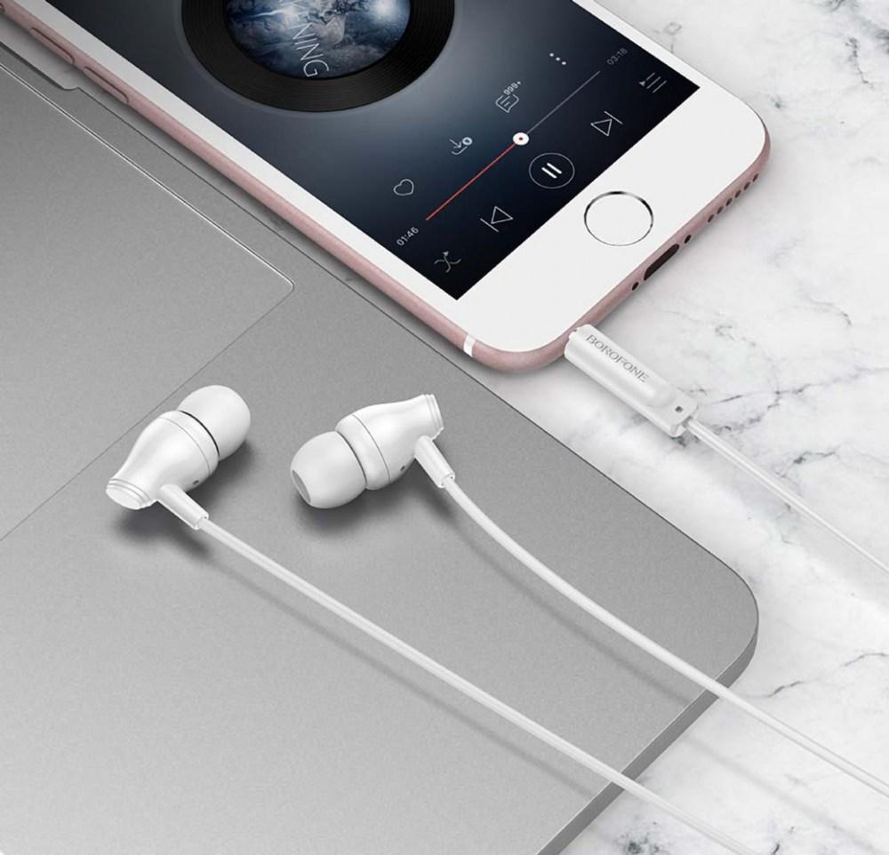 Samsung Galaxy A72 5G (SM-A726B) Borofone M61 fülhallgató - headset nagy teljesítményű, univerzális fehér