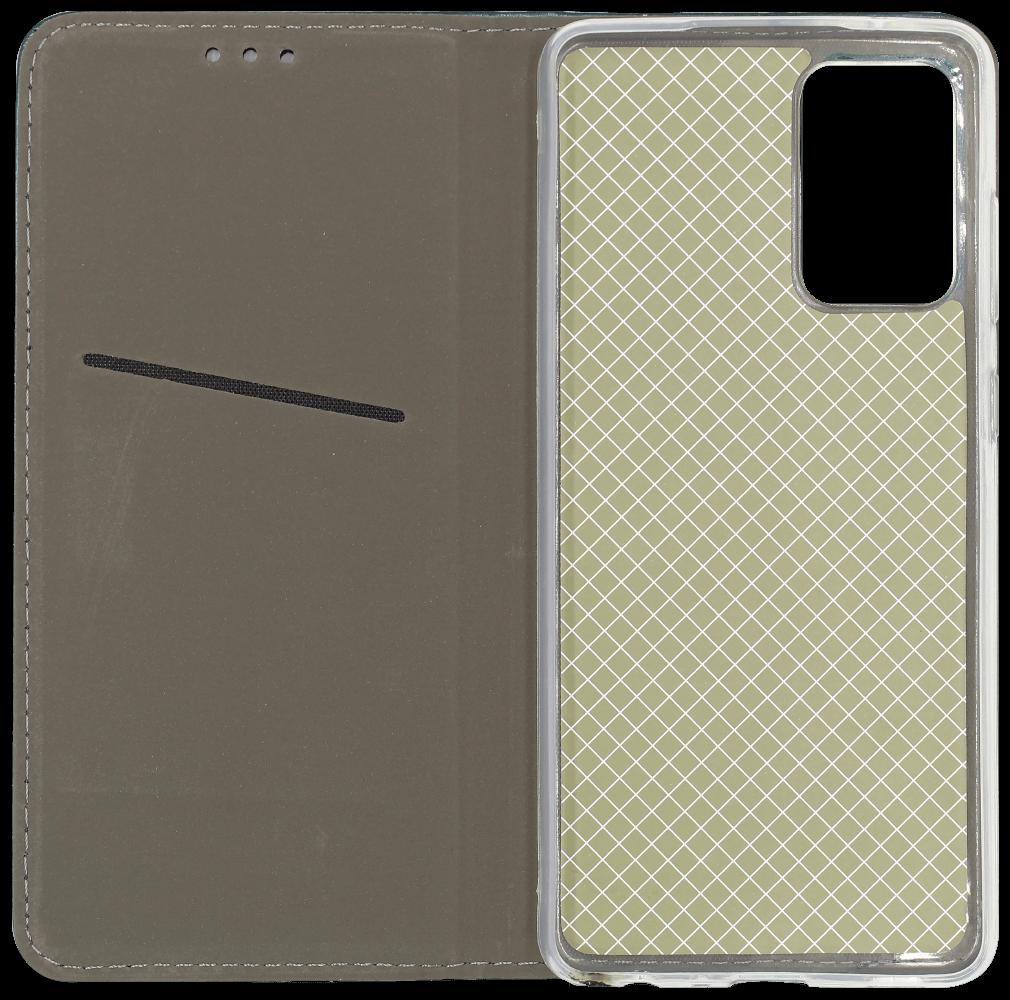 Samsung Galaxy A72 5G (SM-A726B) oldalra nyíló flipes bőrtok asztali tartó funkciós sötétzöld