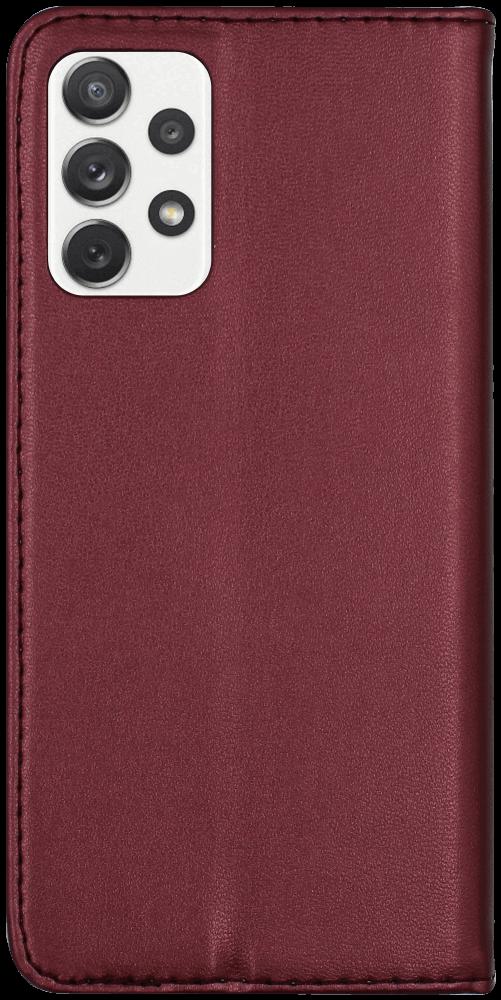Samsung Galaxy A72 5G (SM-A726B) oldalra nyíló flipes bőrtok asztali tartó funkciós bordó