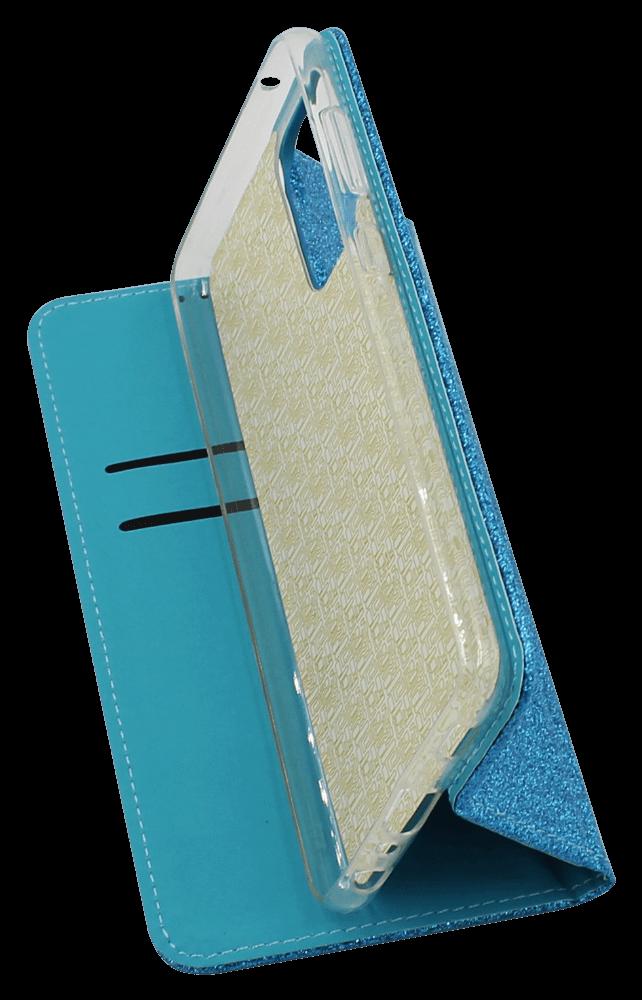 Samsung Galaxy A72 5G (SM-A726B) oldalra nyíló flipes bőrtok csillámos kék