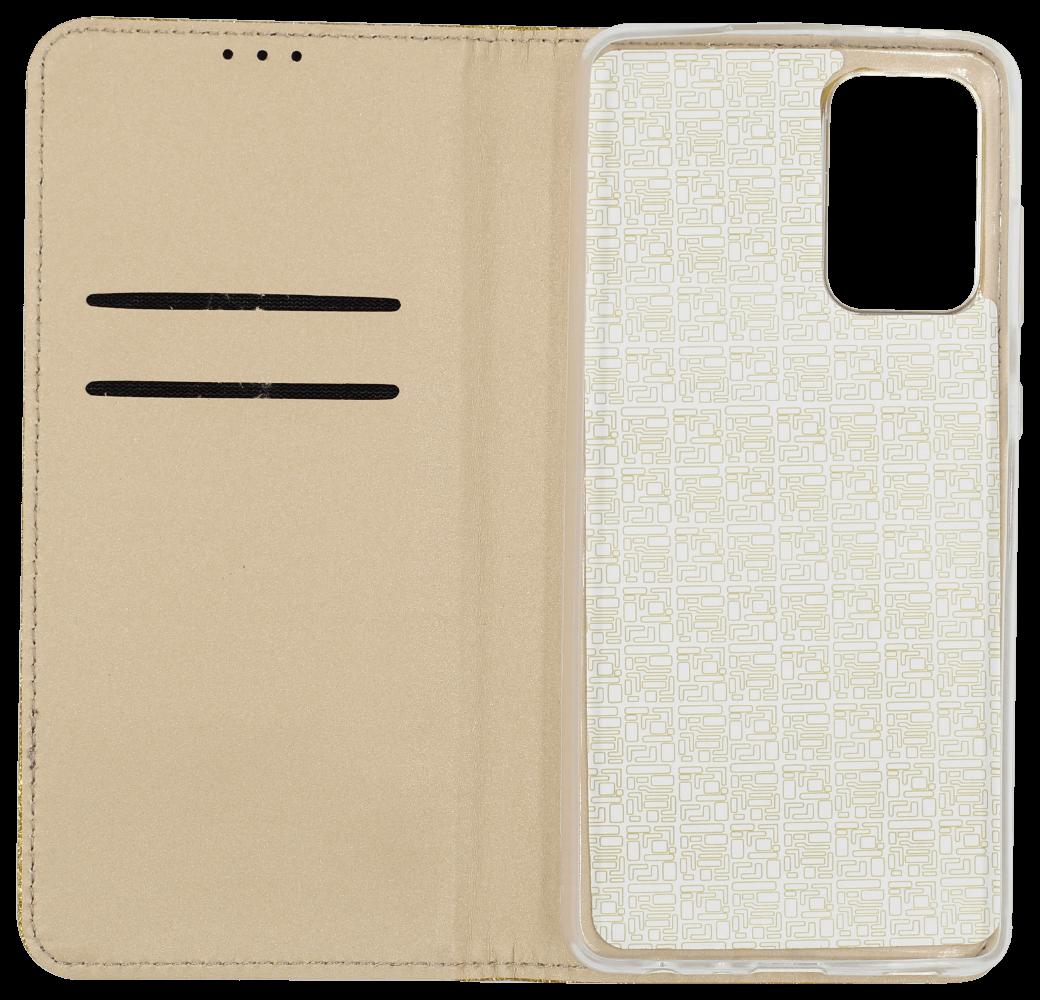 Samsung Galaxy A72 5G (SM-A726B) oldalra nyíló flipes bőrtok csillámos arany
